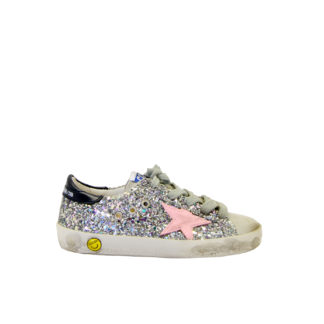 GOLDEN GOOSE UNISEX Calzature SNAKERS SUPERSTAR GLITTER ARGENTO 28, 30, 31, 32, 35, 33, 34-2 immagine n. 1/4