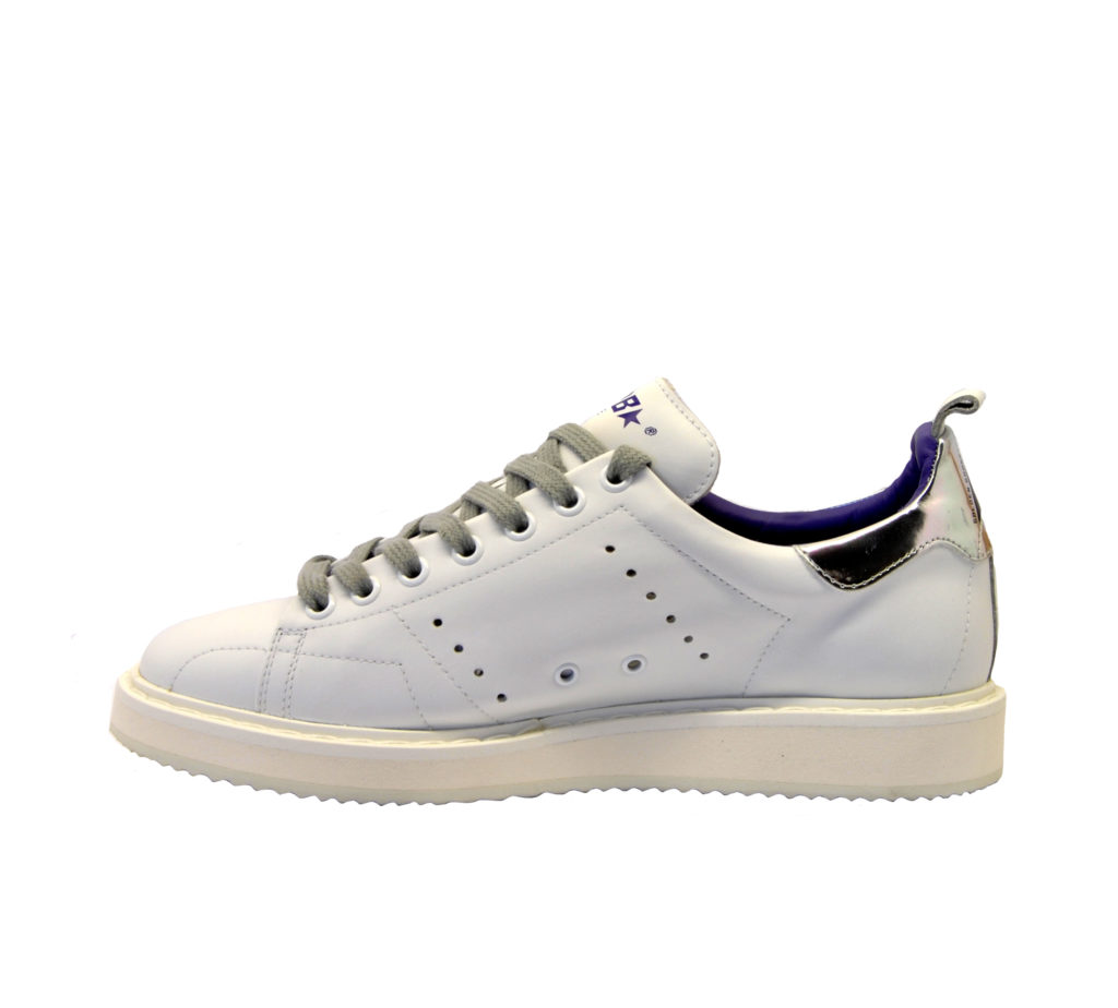 GOLDEN GOOSE DONNA Donna SNEAKERS STARTER PELLE BIANCO ARGENTO 35, 36, 37-2, 38-2, 40 immagine n. 3/4