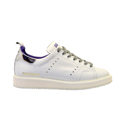 GOLDEN GOOSE DONNA Donna SNEAKERS STARTER PELLE BIANCO ARGENTO 35, 36, 37-2, 38-2, 40 immagine n. 1/4