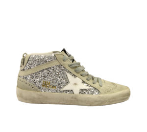 GOLDEN GOOSE DONNA Calzature SNEAKERS MID STAR GLITTER ARGENTO 36, 37-2, 38-2, 41-2 immagine n. 1/4