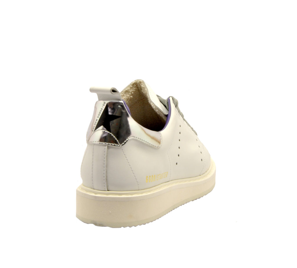 GOLDEN GOOSE DONNA Donna SNEAKERS STARTER PELLE BIANCO ARGENTO 35, 36, 37-2, 38-2, 40 immagine n. 4/4