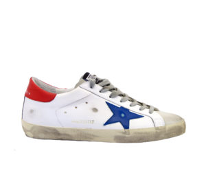 GOLDEN GOOSE UOMO Sneakers SNEAKERS SUPERSTAR BIANCO BLU ROSSO 41-2, 42, 43-2, 44-2, 45-2, 46-2 immagine n. 1/4