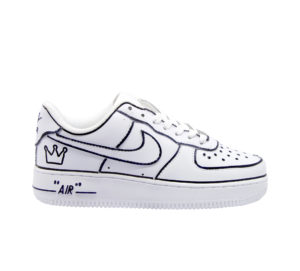 NIKE DONNA Donna SNEAKERS AIR FORCE BIANCO BORDATURE NERO 37 immagine n. 1/4