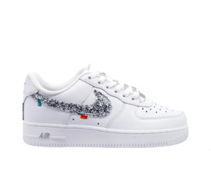 NIKE DONNA Donna SNEAKERS AIR FORCE BIANCO GLITTER ARGENTO 38, 36, 36-2, 37, 38-2, 39-2, 40, 41-2 immagine n. 1/4