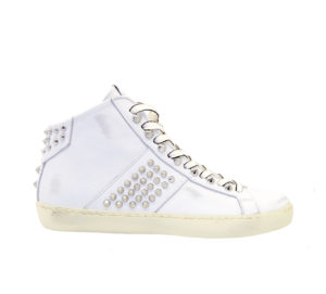 LEATHER CROWN DONNA Donna SNEAKERS BIANCO BORCHIE 36, 37-2, 38-2, 39-2, 40, 41-2 immagine n. 1/4