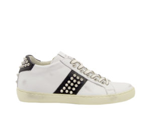 LEATHER CROWN DONNA Donna SNEAKERS BIANCO NERO BORCHIE 36, 37-2, 38-2, 39-2, 40, 41-2 immagine n. 1/4