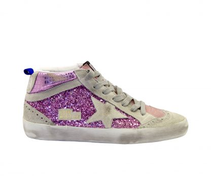 GOLDEN GOOSE DONNA Donna SNEAKERS MID STAR GLITTER PINK 35, 36, 37-2 immagine n. 1/4