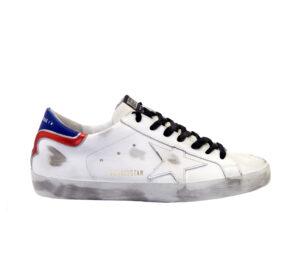 GOLDEN GOOSE UOMO Sneakers SNEKAERS SUPERSTAR BIANCO TALLONE BLU ROSSO 39-2, 40, 41-2, 42, 43-2, 44-2, 45-2 immagine n. 1/4