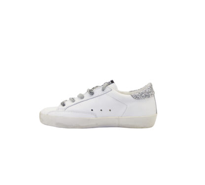 GOLDEN GOOSE UNISEX Bambino SNEAKERS BIANCO GLITTER ARGENTO ROSSO 29, 30, 31, 32, 33, 35 immagine n. 3/4