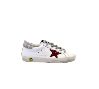GOLDEN GOOSE UNISEX Bambino SNEAKERS BIANCO GLITTER ARGENTO ROSSO 29, 30, 31, 32, 33, 35 immagine n. 1/4