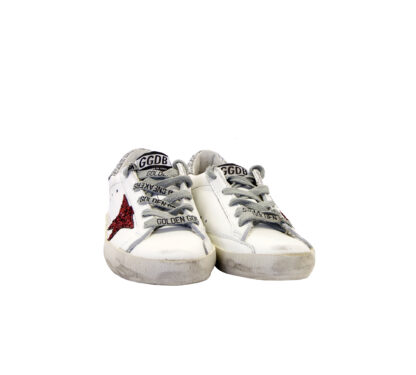 GOLDEN GOOSE UNISEX Bambino SNEAKERS BIANCO GLITTER ARGENTO ROSSO 29, 30, 31, 32, 33, 35 immagine n. 2/4