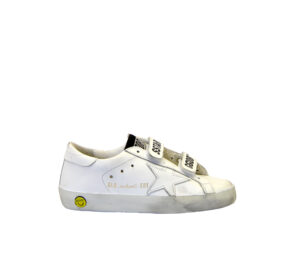 GOLDEN GOOSE UNISEX Bambino SNAKERS OLD SCHOOL BIANCO STRAPPO 26, 27 immagine n. 1/4