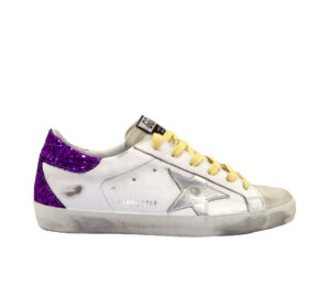 GOLDEN GOOSE DONNA Donna SNEAKERS SUPERSTAR BIANCO GLIITER VIOLA 36, 37-2, 38-2, 39-2, 40, 41-2 immagine n. 1/4