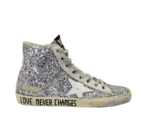 GOLDEN GOOSE DONNA Donna SNEAKERS FRANCY GLITTER ARGENTO 36, 37-2, 38-2, 39-2, 40, 41-2 immagine n. 1/4