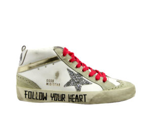 GOLDEN GOOSE DONNA Donna SNEAKERS MID STAR BIANCO SCRITTE 36, 37-2, 38-2, 39-2, 40, 41-2 immagine n. 1/4